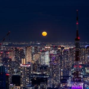 六本木ヒルズ展望台 東京シティビュー/スカイデッキから望む月