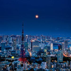 六本木ヒルズ展望台 東京シティビューから望む月